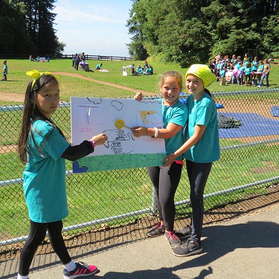 girls presenting poster