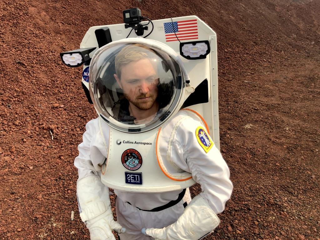 spacesuit engineer Jake Rohrig in the spacesuit