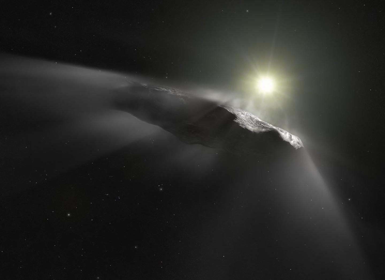 An artist's depiction of interstellar object 'Oumuamua ESA/Hubble; NASA; ESO; M. Kornmesser
